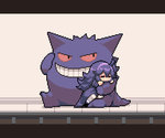 1girl ^_^ ahoge animated closed_eyes commentary_request dress gengar hairband happy hex_maniac_(pokemon) hug messy_hair midoribox pixel_art pokemon pokemon_(creature) pokemon_(game) pokemon_xy purple_dress purple_eyes purple_hair red_sclera sitting sleeping smile tail teeth ugoira