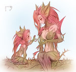 2girls bebseo breasts child commentary dated dual_persona highres league_of_legends long_hair looking_at_another medium_breasts monster_girl multiple_girls plant plant_girl reaching red_hair simple_background thorns vines white_background yellow_eyes younger zyra