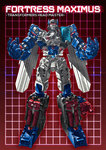 1boy 80s autobot cannon character_name commentary_request copyright_name fortress_maximus full_body glowing glowing_eyes grid grid_background insignia looking_at_viewer mecha no_humans oldschool paintedmike red_background red_eyes solo standing transformers transformers:_the_headmasters weapon