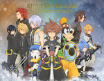 2girls 6+boys alternate_hairstyle aqua_(kingdom_hearts) axel_(kingdom_hearts) black_hair black_legwear blonde_hair blue_eyes blue_hair brown_hair bunta01 chain_necklace detached_sleeves disney donald_duck dual_wielding goofy green_eyes hakama japanese_clothes keyblade kingdom_hearts kingdom_hearts_358/2_days kingdom_hearts_birth_by_sleep multiple_boys multiple_girls red_hair riku roxas shield short_hair silver_hair sora_(kingdom_hearts) staff terra_(kingdom_hearts) thighhighs ventus xion_(kingdom_hearts)