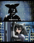 animal_ears black_hair chromatic_aberration closed_eyes commentary common_raccoon_(kemono_friends) cosplay darth_vader darth_vader_(cosplay) fake_animal_ears fennec_(kemono_friends) fox_ears gloves grey_hair helmet highres kemono_friends movie_reference multicolored_hair multiple_girls open_mouth parody puffy_short_sleeves puffy_sleeves raccoon_ears short_hair short_sleeves star_wars subtitled tearing_up translated ueyama_michirou