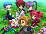 3boys 3girls :3 ^_^ asbel_lhant basket blanket blue_eyes blue_hair blue_shirt blush_stickers bodysuit brooch brown_eyes brown_hair cheria_barnes chibi closed_eyes coat flower food glasses gloves grass hubert_ozwell jewelry kirita_(noraring) kneeling looking_back lying malik_caesars mouth_hold multicolored_hair multiple_boys multiple_girls outdoors outstretched_arms pascal picnic pink_hair purple_eyes purple_hair purple_skirt red_hair scarf shirt short_twintails shorts sitting skirt smile sophie_(tales) spread_arms tales_of_(series) tales_of_graces thighhighs twintails two-tone_hair two_side_up white_hair white_legwear