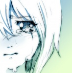 1girl blue blue_background blush close-up closed_mouth copyright_request crying crying_with_eyes_open face gradient gradient_background green green_background monochrome sad sketch solo tears yahako