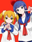 2girls 50yen :3 anger_vein blonde_hair blue_eyes blue_hair blush bow closed_mouth cracking_knuckles hand_on_another's_shoulder long_hair medium_hair multiple_girls pipimi poptepipic popuko red_background red_bow school_uniform scrunchie simple_background twintails upper_body veins veiny_hands yellow_eyes yellow_sclera