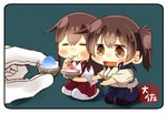 2girls akagi_(kantai_collection) artist_name black_legwear blue_hakama brown_eyes brown_hair chibi closed_eyes hakama hakama_skirt japanese_clothes kaga_(kantai_collection) kantai_collection long_hair minigirl multiple_girls red_hakama seiza shaved_ice short_hair side_ponytail sitting taisa_(kari) tasuki thighhighs white_legwear