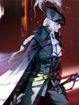 1girl belt belt_buckle black_cape black_gloves black_headwear bloodborne braid buckle cape closed_mouth feathers frills gloves glowing glowing_eyes hand_on_hip hat hat_feather highres holding holding_sword holding_weapon lady_maria_of_the_astral_clocktower long_hair moruga red_eyes solo sword the_old_hunters weapon white_hair yellow_belt