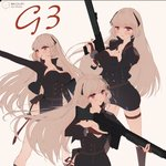 1girl absurdres artist_name bangs battle_rifle black_dress blonde_hair blush breasts character_name cleavage commentary_request cross dress eyebrows_visible_through_hair g3_(girls_frontline) girls_frontline gun h&k_g3 hair_between_eyes hair_ornament highres holding jewelry long_hair medium_breasts muike multiple_views pouch purple_eyes ribbon rifle side_cutout solo very_long_hair weapon