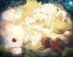 1girl 1other :o animal_ears barefoot book bunny_ears cheek-to-cheek circle_formation claws creature dual_persona furry glowing kurokitsune_(float0108) made_in_abyss mitty_(made_in_abyss) mitty_(made_in_abyss)_(human) nanachi_(made_in_abyss) nanachi_(made_in_abyss)_(human) open_mouth short_hair_with_long_locks sleeping smile strapless tail topknot tubetop white_hair younger