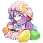 1girl :/ book chibi crescent crescent_moon_pin crystal dress hair_ribbon hat holding holding_book long_hair looking_at_viewer mob_cap patchouli_knowledge purple_dress purple_eyes purple_hair reading ribbon satou_kibi sidelocks simple_background sitting solo striped striped_dress touhou tress_ribbon vertical_stripes very_long_hair white_background