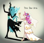 2girls artist_name blue_hair bridal_veil different_shadow dress english evil_smile fang flower gloves hair_flower hair_ornament heart high_heels horn insect_wings long_dress mato_(10234) multiple_girls my_little_pony my_little_pony_friendship_is_magic pink_eyes pink_hair princess_mi_amore_cadenza queen_chrysalis shadow smile veil wedding_dress white_dress wings
