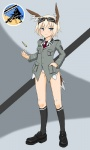 1girl bad_id bad_pixiv_id blonde_hair blue_eyes bullet commentary dakku_(ogitsune) goggles head_wings mary_janes nina_georgina_marseille shoes solo strike_witches_1991 tail uniform world_witches_series