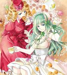 2girls blonde_hair blue_eyes bonnet bow clair_vaux_bernardus cup dress drill_hair elbow_gloves food gaap gloves green_hair hat highres macaron mini_hat mini_top_hat mizuno_eita multiple_girls official_art pastry red_dress requiem_of_the_golden_witch smile teacup teapot top_hat umineko_no_naku_koro_ni underbust white_dress