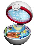 basketball basketball_court basketball_hoop checkered gen_1_pokemon halfpipe n's_room open_poke_ball pikachu poke_ball pokemon premier_ball ruun_(abcdeffff) toy toy_airplane toy_train