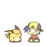 1boy :3 :> cafe_(chuu_no_ouchi) chibi gold_(pokemon) hat lowres pokemon pokemon_(game) pokemon_hgss raichu smile tail