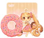 1girl :d absurdly_long_hair ahoge artist_name bangs barefoot blush brown_eyes chibi dav-19 doughnut dress eyebrows_visible_through_hair food food_themed_clothes hair_ornament hairclip lace_background light_brown_hair long_hair looking_at_viewer looking_to_the_side open_mouth original personification puffy_short_sleeves puffy_sleeves short_sleeves smile solo standing striped transparent_background twintails vertical_stripes very_long_hair watermark web_address