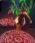 1girl ass aura barefoot black_hair breasts brown_legwear candle covered_navel covered_nipples curvy dark_skin demon_tail fingernails glowing glowing_eyes gradient_hair green_eyes green_hair halo highres large_breasts magic_circle mirror multicolored_hair nail_polish navel nikita_varb original patreon_username reflection sharp_fingernails sharp_teeth sharp_toenails solo tail teeth thighhighs tight toenails toes wide_hips