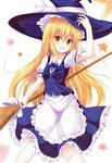 1girl apron blonde_hair bow braid broom colored_pencil_(medium) grin hat hat_bow highres kirisame_marisa kittona long_hair looking_at_viewer millipen_(medium) puffy_short_sleeves puffy_sleeves shirt short_sleeves single_braid skirt skirt_set smile solo star touhou traditional_media very_long_hair vest waist_apron watercolor_pencil_(medium) witch_hat yellow_eyes