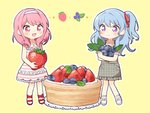 2girls :d bang_dream! bangs bd_ayknn blue_hair blueberry blush collared_dress commentary_request doily dress eyebrows_visible_through_hair food frilled_dress frilled_sleeves frills fruit full_body grey_dress hair_down hair_ribbon hairband holding holding_fruit light_blue_hair long_hair lying maruyama_aya matsubara_kanon minigirl multiple_girls on_side open_mouth outline pinafore_dress pink_eyes pink_hair plaid plaid_dress purple_eyes red_footwear red_ribbon ribbon short_sleeves sidelocks simple_background sleeveless sleeveless_dress smile standing strawberry striped striped_dress tart_(food) unmoving_pattern white_footwear white_hairband white_outline yellow_background
