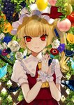 1girl absurdres anemone_(flower) apple bangs blonde_hair blue_flower bug butterfly commentary_request crystal daimaou_ruaeru eyebrows_visible_through_hair eyes_visible_through_hair flandre_scarlet flower food fruit grapes grin hands_up hat hat_ribbon highres insect komeiji_koishi lace-trimmed_collar lace_trim leaf lemon long_hair looking_at_viewer mob_cap nail_polish one_side_up orange own_hands_together parted_lips peach pear puffy_short_sleeves puffy_sleeves purple_flower red_eyes red_nails red_ribbon red_skirt red_vest ribbon rose shirt short_sleeves skirt skirt_set slit_pupils smile solo touhou upper_body vest white_flower white_headwear white_rose white_shirt wings wrist_cuffs yellow_flower