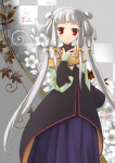 1girl albino artist_request code_geass long_hair red_eyes silver_hair solo tianzi white_hair