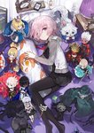 1girl andrian_gilang archer arjuna_(fate/grand_order) artoria_pendragon_(all) bed berserker black_dress black_legwear cardigan character_doll dakimakura_(object) dress edmond_dantes_(fate/grand_order) fate/grand_order fate_(series) fou_(fate/grand_order) from_above fujimaru_ritsuka_(female) gae_bolg hair_between_eyes highres illyasviel_von_einzbern indoors karna_(fate) long_sleeves looking_at_viewer lying magical_ruby mash_kyrielight miniskirt mordred_(fate) mordred_(fate)_(all) necktie no_shoes oda_nobunaga_(fate) okita_souji_(fate) okita_souji_(fate)_(all) on_side open_cardigan open_clothes pantyhose pillow pink_eyes pink_hair pleated_dress purple_eyes red_neckwear saber short_dress short_hair skirt smile solo sweater