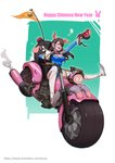 1girl ;) absurdres adapted_costume animal_ears arm_up blue_leotard boots breasts chinese_new_year cleavage coffee_mug commentary_request cup d.va_(overwatch) driving fake_animal_ears flag full_body gloves ground_vehicle gun handgun happy_new_year headphones highres holding holding_gun holding_weapon leg_up leotard medium_breasts motor_vehicle motorcycle mug new_year one_eye_closed overwatch pig_ears pistol ribbed_leotard skin_tight smile solo thigh_boots thighhighs weapon whisker_markings white_footwear white_gloves zhong-x_wu