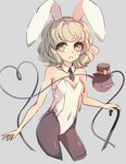 1girl alternate_costume animal_ears black_headwear black_legwear black_neckwear bow breasts bunny_ears bunnysuit commentary_request cropped_legs dise eyebrows_visible_through_hair fake_animal_ears grey_background hat heart heart_of_string holding_cane komeiji_koishi leotard looking_at_viewer open_mouth pantyhose ribbon silver_hair simple_background small_breasts solo standing string third_eye top_hat touhou white_leotard yellow_ribbon