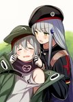 2girls bangs beret black_headwear black_jacket closed_eyes commentary_request eyebrows_visible_through_hair facial_mark g11_(girls_frontline) girls_frontline gloves green_eyes green_headwear green_jacket hair_between_eyes hair_ornament hat highres hk416_(girls_frontline) jacket long_hair multiple_girls open_mouth scarf shirt sidelocks silver_hair tobimura