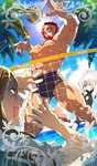 1girl 2boys artoria_pendragon_(all) beard blue_sky card_(medium) card_parody chaldea_beach_volleyball commentary craft_essence facial_hair fate/grand_order fate_(series) grin jumping lens_flare lord_el-melloi_ii male_focus male_swimwear multiple_boys muscle ocean one-piece_swimsuit palm_tree red_eyes red_hair redrop rider_(fate/zero) saber_alter scar scared sky sleeveless smile sunglasses sweat swim_trunks swimsuit swimwear tree volleyball waver_velvet