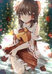 1girl backlighting bangs barefoot blurry blush bow brown_eyes brown_hair bush camellia commentary_request cravat day depth_of_field detached_sleeves eyebrows_visible_through_hair flower frilled_skirt frills grass hair_between_eyes hair_bow hair_tubes hakurei_reimu half_updo highres in_water kneeling looking_at_viewer miri_(miri0xl) outdoors red_skirt red_vest ribbon-trimmed_sleeves ribbon_trim sidelocks signature skirt skirt_set smile solo touhou vest wet wet_clothes wringing_clothes yellow_neckwear