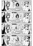 3girls 4koma adapted_costume ahoge animal_ears bare_shoulders blush bracelet bunny_ears carrot_necklace cat_ears chair chen clock comic detached_sleeves enami_hakase flandre_scarlet greyscale hair_over_one_eye hat highres inaba_tewi jewelry microphone monochrome multiple_girls open_mouth short_hair side_ponytail single_earring table touhou translation_request