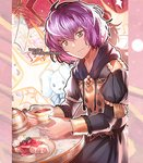 1girl bernadetta_von_varley cake closed_mouth commission cup fire_emblem fire_emblem:_three_houses food grey_eyes holding holding_cup hood hood_down long_sleeves paula_biedma plate purple_hair short_hair solo stuffed_animal stuffed_bunny stuffed_toy teacup teapot twitter_username uniform