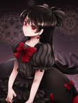 1girl black_bow black_dress black_hair bow dress earrings frilled_dress frills highres jewelry long_hair looking_at_viewer otoca_d'or red_bow red_eyes runapiero striped striped_dress