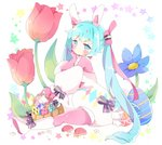 1girl animal animal_ears basket blue_eyes blue_flower blue_hair blush boots bow bunny bunny_ears closed_mouth commentary detached_sleeves easter_egg easter_miku egg english_commentary fake_animal_ears flower hairband hatsune_miku highres knee_boots long_hair long_sleeves multicolored multicolored_eyes pantyhose pink_eyes pink_legwear pink_shirt puffy_long_sleeves puffy_sleeves purple_bow red_flower shirt short_jumpsuit sitting solo star striped striped_bow tsukiyo_(skymint) twintails very_long_hair vocaloid white_background white_footwear white_hairband white_jumpsuit white_sleeves