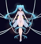 1girl absurdly_long_hair ankle_strap arm_strap babydoll bangs bare_arms bare_legs bare_shoulders black_background blue_hair bow bow_panties collarbone commentary_request criss-cross_halter cross-laced_clothes eyebrows_visible_through_hair frills full_body gradient gradient_background hair_between_eyes hair_ribbon halterneck hatsune_miku highres light_smile long_hair navel no_socks panties parted_lips ribbon see-through solo thigh_gap twintails underwear underwear_only user_awm7451 very_long_hair vocaloid white_footwear white_panties white_ribbon yellow_bow