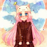 1girl animal_hat blue_eyes blush bug butterfly cat_hat haruka_(maake) hat insect long_hair megurine_luka megurine_luka_(toeto) pink_hair smile solo tears toeto_(vocaloid) traditional_media vocaloid