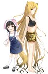 2girls :d absurdly_long_hair animal_ears animal_print bangs bare_arms bare_shoulders barefoot black_footwear black_hair black_tank_top blonde_hair blunt_bangs breasts bunny_ears closed_mouth collarbone crop_top eyebrows_visible_through_hair highres inahori kneehighs long_hair looking_at_viewer looking_to_the_side multiple_girls open_mouth original overall_skirt print_shorts puffy_short_sleeves puffy_sleeves purple_eyes scratches shirt shoes short_shorts short_sleeves shorts simple_background small_breasts smile sneakers standing tank_top tiger_print upper_teeth very_long_hair white_background white_legwear white_shirt yellow_eyes