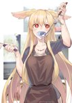 1girl absurdres apron bandaid blonde_hair blush bright_pupils brown_apron commentary_request cooking eyebrows_visible_through_hair fate/grand_order fate_(series) hair_between_eyes head_wings highres holding holding_knife holding_ladle injury jewelry kitchen_knife knife ladle long_hair mithurugi-sugar necklace red_eyes scar sleeves_rolled_up sweatdrop tasting thrud_(fate/grand_order) twitter_username valkyrie_(fate/grand_order) very_long_hair white_pupils