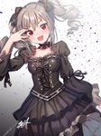 1girl :d arm_up bangs black_bow black_dress black_legwear black_nails black_ribbon blush bow breasts commentary_request cross-laced_clothes dress eyebrows_visible_through_hair fingernails gothic_lolita gradient gradient_background grey_background grey_hair hair_between_eyes hair_bow head_tilt idolmaster idolmaster_cinderella_girls juliet_sleeves kanzaki_ranko kuri_choko lolita_fashion long_sleeves looking_at_viewer medium_breasts nail_polish open_mouth pantyhose puffy_sleeves red_eyes ribbon ringlets sample signature smile solo twintails v-shaped_eyebrows white_background