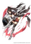 1girl armor armored_boots armpit_peek bangs black_gloves black_hair black_legwear boots breasts cannon cape cleavage dress elbow_gloves floating_hair full_body gauntlets gloves holding iris_yuma knee_boots large_breasts leg_up long_hair looking_at_viewer official_art parted_bangs parted_lips ponytail rainmaker red_eyes simple_background smile solo soul_worker strapless strapless_dress thighhighs v-shaped_eyebrows very_long_hair white_background zettai_ryouiki