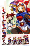 5girls ahoge albino anger_vein black_legwear black_sclera blonde_hair blue_eyes breast_envy clenched_hand company_connection cornet_espoir directional_arrow disgaea earrings etna gloves green_hair harada_takehito hat highres horns jewelry kururu_(rhapsody) long_hair makai_senki_disgaea marl_kingdom marona_(phantom_brave) multiple_girls nippon_ichi official_art orange_hair pantyhose phantom_brave phantom_kingdom pointy_ears pram red_eyes red_hair rhapsody short_hair skirt smile spiked_hair twintails white_hair white_skirt work_in_progress