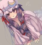 1girl all_fours blush bow breasts cleavage crescent crying crying_with_eyes_open dress dutch_angle flying_teardrops grey_background hair_bow hair_ornament hat hat_ribbon highres long_hair long_sleeves looking_at_viewer medium_breasts mob_cap off_shoulder open_mouth patchouli_knowledge purple_hair ribbon simple_background solo tears touhou usamata