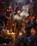 5boys armor bald batman battle building cape captain_america city clenched_hand clenched_teeth clothes_grab cloud cloudy_sky crossover dc_comics debris embers fire floating gloves helmet highres iron_man lens_flare male_focus marvel mask motion_blur multiple_boys multiple_crossover muscle no_pupils one-punch_man red_gloves saitama_(one-punch_man) sky skyscraper superhero superman teeth torn_clothes watermark web_address white_cape woo_chul_lee