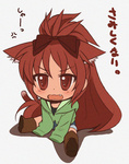 1girl anger_vein animal_ears bow brown_eyes brown_hair cat_ears cat_tail chibi commentary_request fang hair_bow highres hood hoodie kemonomimi_mode long_hair mahou_shoujo_madoka_magica open_mouth oversized_clothes petanko ponytail sakura_kyouko shinanoya_(satanicad) shorts sitting sleeves_past_wrists solo tail translated wavy_mouth