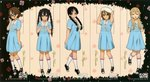 5girls :q akiyama_mio alternate_hairstyle artist_request beret bespectacled black_eyes black_hair blonde_hair braid brown_eyes brown_hair closed_eyes glasses hair_over_shoulder hat highres hirasawa_yui k-on! k-on!_movie kneehighs kotobuki_tsumugi multiple_girls nakano_azusa scan shoes singing! sneakers tainaka_ritsu tongue tongue_out twin_braids twintails