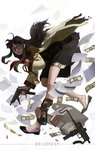 1girl beretta_93r black_hair briefcase dollar_bill explosive glasses grenade grenade_pin gun handgun long_hair mac-10 machine_pistol money no_socks paper qi_wu read_or_die shoe_dangle skirt smile solo submachine_gun trigger_discipline weapon yomiko_readman