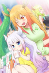 3girls :o ;d alternate_hairstyle blonde_hair blue_eyes blush breasts closed_eyes cup dragon_girl dragon_horns dragon_tail eyebrows_visible_through_hair fang gradient_hair green_hair green_shirt hair_down hand_on_another's_head horns jitome kanna_kamui kl kobayashi-san_chi_no_maidragon lavender_hair long_hair looking_at_another looking_at_viewer medium_breasts mug multicolored_hair multiple_girls one_eye_closed open_mouth orange_eyes orange_hair quetzalcoatl_(maidragon) shirt sitting slit_pupils smile stuffed_animal stuffed_toy tail tooru_(maidragon) yawning
