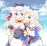 2girls animal_ear_fluff animal_ears apron azur_lane bangs bird black_bow black_dress black_gloves black_hairband black_sleeves blue_eyes blue_shirt blue_sky blush bow breasts cat_ears character_request cloud cloudy_sky collarbone commentary_request day detached_sleeves dress eyebrows_visible_through_hair fingerless_gloves fingernails frilled_apron frills gloves hair_between_eyes hair_bow hairband hammann_(azur_lane) hand_on_hip kouu_hiyoyo long_hair multiple_girls one_eye_closed one_side_up open_mouth outdoors puffy_short_sleeves puffy_sleeves red_bow remodel_(azur_lane) sailor_collar shirt short_sleeves sims_(azur_lane) sky sleeveless sleeveless_shirt small_breasts strapless strapless_dress twitter_username waist_apron white_apron white_hair white_sailor_collar wrist_cuffs