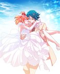 1boy 1girl :d amelie blonde_hair blue_eyes blue_hair bride brown_hair carrying closed_eyes collared_shirt couple dress elbow_gloves freyja_wion gloves gradient_hair grey_neckwear groom hair_between_eyes hair_ornament hairclip hayate_immelmann highres jacket long_dress macross macross_delta multicolored_hair open_mouth pants princess_carry pumps ribbon shiny shiny_hair shirt short_hair sleeveless sleeveless_dress smile two-tone_hair wedding_dress white_dress white_footwear white_gloves white_jacket white_pants white_ribbon white_shirt wing_collar