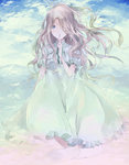 1girl blonde_hair blue_eyes cloud colored_eyelashes covering_mouth dress finger_to_mouth floating_hair frilled_dress frilled_sleeves frills hair_over_one_eye highres index_finger_raised long_hair looking_at_viewer marnie omoide_no_marnie pale_color puffy_short_sleeves puffy_sleeves punitama short_sleeves sitting sky solo tears very_long_hair wavy_hair white_dress wind